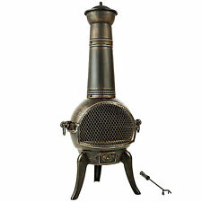 Large cast iron chiminea fireplace garden patio heater barbecue 115 cm BBQ oven