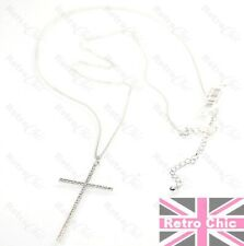 "2.5""big LARGE FINE CRYSTAL CROSS PENDANT long chain NECKLACE 925 silver plated"