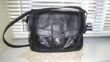 Mia Black Leather Organizer Crossbody Bag