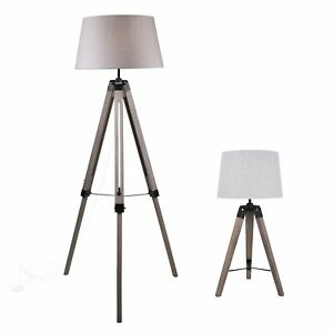 Grey Wash Tripod Wood Table or Floor Lamp Black Painted Metal and Grey Shade
