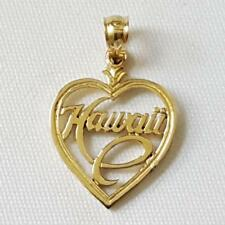 14k Yellow Gold Hawaii Heart Pendant / Charm, Made in USA