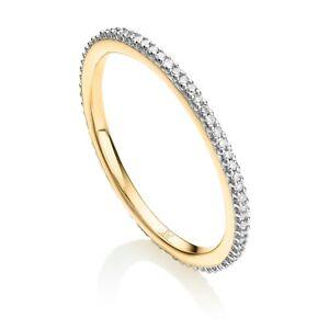 Monica Vinader 18ct Gold Plated Vermeil Skinny Eternity Diamond Ring