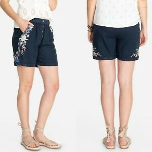 NWT Johnny Was Embroidered Blue Shorts Size XS Linen Button Front Womens New