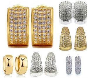 Pair Hoop Huggies Ear Stud Earrings Mens Women Gold Finished Over Steel