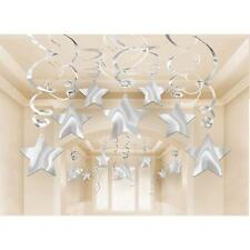 SILVER HANGING SWIRL STAR DECORATIONS PACK OF 30 BIRTHDAY PARTY SUPPLIES