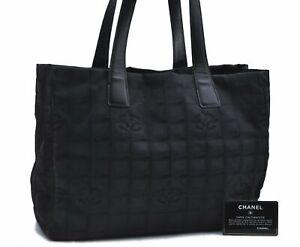 Authentic CHANEL New Travel Line Shoulder Tote Bag Nylon Leather Black E2240