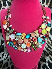 Betsey Johnson Vintage Candyland Candy Crystal Heart Gum Drop Bib Bow Necklace