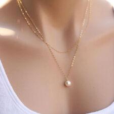 Mode Damen Schmuck Multilayer Halskette mit Perle Anhänger Bib-Necklace