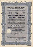 Rheinisch-Westfälisches Elektrizitäts AG Essen historische Anleihe 1939 RWE NRW