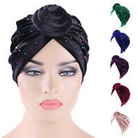 India Women Velvet Muslim Turban Twist Knotted Hat Chemo Cap Bonnet Hair Loss