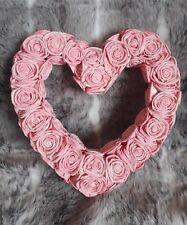 2x BNIB Handmade Pink Rose Heart Wreath- Babyshower, Wedding, Decor, Centrepiece