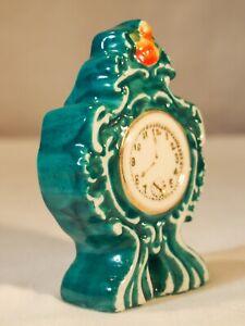 LD Occupied Japan miniature large mantel clock porcelain figurine Green gold