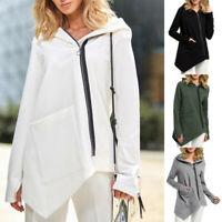 Women Coat Solid Long Sleeve Pullover Tops Zipper Hooded Sweatshirt Coat Outwear