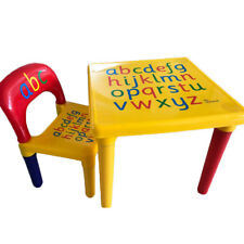 Kids Plastic Table and 1 Chair Set Vibrant Colors Letters Education Learning