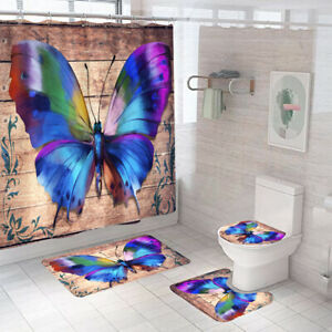 Butterfly Bathroom Rug Set Shower Curtain Non-Slip Toilet Lid Cover Bath Mat