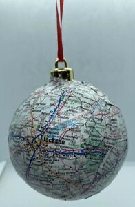 HANDMADE: STATE OF MISSISSIPPI CHRISTMAS ORNAMENT WITH MAJOR CITIES AND MAP!