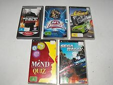 AFL Challenge-Sega Rally-Juiced-Splinter Cell-Mind Quiz  Bulk Lot For PSP
