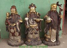 China Silver Bronze Gilt Fu Lu Shou 3 Immortal God Dragon Ruyi Peach Statue Set