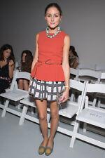 Olivia Palermo x Tibi Burnt Orange Refined Crepe Peplum Top Size 4