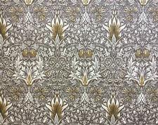 William Morris Curtain Fabric 'Snakeshead' 61cm Pewter/Gold - Linen Blend