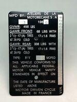 New Repop MOTOBECANE Moped Data Plate Model Number Plate Tag