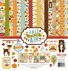 Echo Park FALL IS IN THE AIR 12x12 Collection Kit Scrapbook Thanksgiving Pumpkin