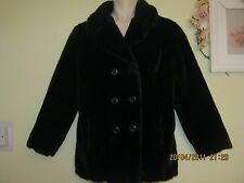 Vintage 60s 70s Tissavel  brown faux fur jacket double breasted size 10/12