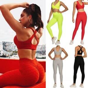 Womens Fitness Yoga Sets Crop Top Bra Leggings Set Gym Workout Sports Wear Sets