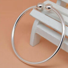 925 Sterling Silver Ball End Open Cuff Love Bangle Women's Bracelet