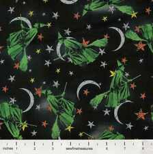 Wizard of Oz FLYING WITCHES HALLOWEEN STARS Night Black Fabric By the FQ 1/4 YD