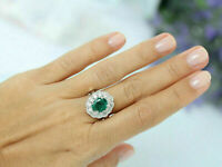 3Ct Oval Cut Green Emerald & Diamond Halo Engagement Ring 14K White Gold Over