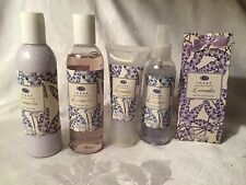Lavender Bath Gift Set Lotion Gel Satin & Mesh Cosmetic Bag 6 pc NEW