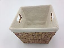 SET OF 4 LINED NATURAL HOME ORGANIZER STORAGE BASKETS/TOTES (13X13X10in)