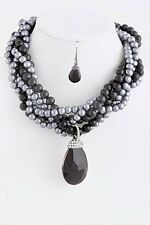 D15 Twisted Black Gray Pearl Crystal Pendant Necklace Earring Set Boutique