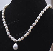 7-8MM Natural Rice White Pearl/ Shell Pearl Pendant (12x16MM) Necklace 18""