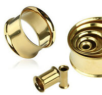 Pair Gold Plated Double Flare Ear Plugs Tunnels Earlets Gauges