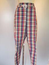 1950 60s Hi Waist Rockabilly Pinup Plaid Picnic Trousers Pants Slacks Vintage 16