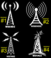 HAM RADIO TOWER with PERSONALIZED CALL SIGN - CAR/TRUCK/VAN Vinyl Decal Sticker