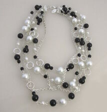 WHBM * NWOT * POUCH Multi Row Statement Pearl Silver Black Beads Necklace