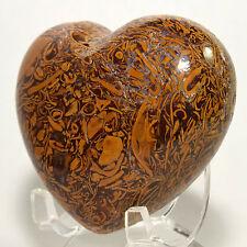 "2.6"" Natural Mariam Jasper Heart ""Elephant Skin"" Fossil Crystal Stone - India"