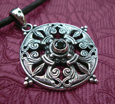 Traumhaftes Amulett/Anhänger aus Nepal ORNAMENT+MANDALA aus 925er Silber ONYX