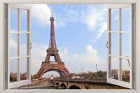 paris new york 3D Window View Removable Wall Art Sticker Vinyl Decal Decor Mural