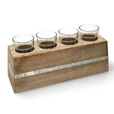 5-teiliges Teelichthalter Set 1xHolz + 4 Kerzenhalter aus Glas Restposten A-112