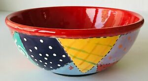 """Artisan Ceramic Bowl with Colorful Crazy Quilt Patchwork Design 8"""" Signed"""