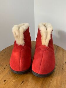 Brand New Womens Red Suede Sheepskin Slippers Size 8M - Made in Spain