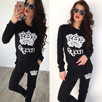 Femme 2pcs survêtement Sweat-shirt à capuche Pull-over Pantalons SPORTS FITNESS