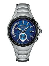 New Seiko Coutura Radio Sync Solar World Time Stainless Steel Mens Watch SSG019