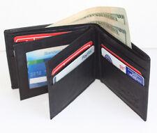 Black Leather Mens Bifold Wallet Slim ID Credit Card Hideaway Zip 2 Center Flap