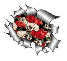 Ripped Torn Metal Look Design Tattoo Style Skull & Red Roses vinyl car sticker