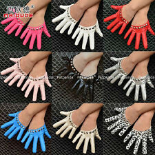 18 colors Women's gaga Punk Party Costume half palm gloves studded metal rivets
